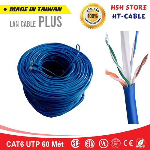 Dây cáp mạng Cat6 UTP HT-Cable 60 Mét Có sẵn 2 đầu