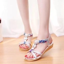 Giày sandal đế thấp nữ hoa đính đá pha lê hàng nhập - LN1552