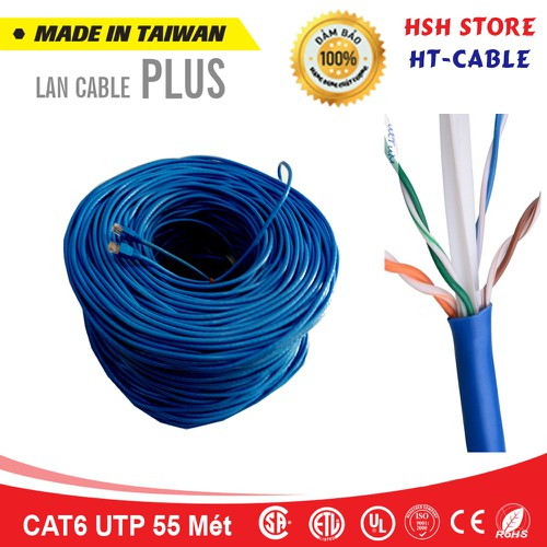 Dây cáp mạng Cat6 UTP HT-Cable 55 Mét Có sẵn 2 đầu
