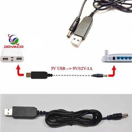 cáp chuyển đổi điện áp từ cổng USB 5V sang 9v,12v