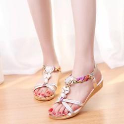 Giày sandal đế thấp nữ hoa đính đá pha lê hàng nhập - LN1553