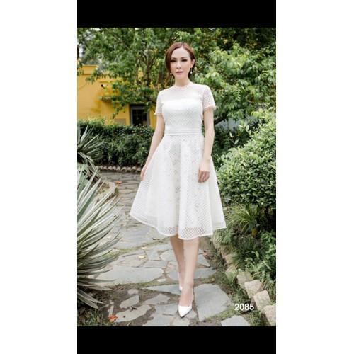 Đầm xòe ren trắng dễ thương 2085