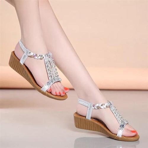 Giày sandal cao gót phối kim sa