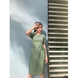 Đầm nữ caro cột nơ vintage cổ điển