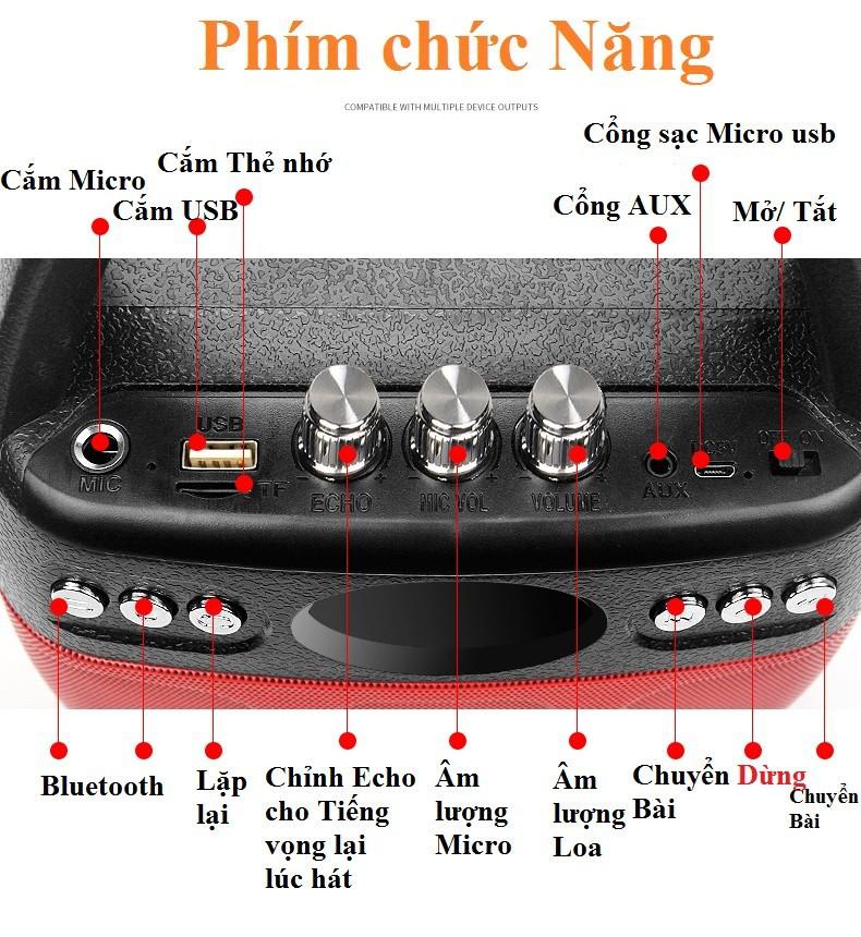 Loa kẹo kéo Bluetooth Echo PKCB-610 cắm Micro thẻ nhớ USB Điện thoại 4
