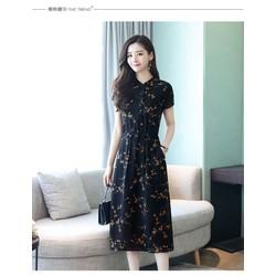 Đầm suông hoạ tiết ngắn tay 4D1311