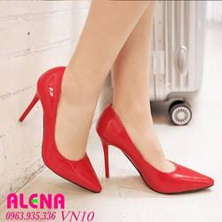 Giày cao gót da bóng 10cm