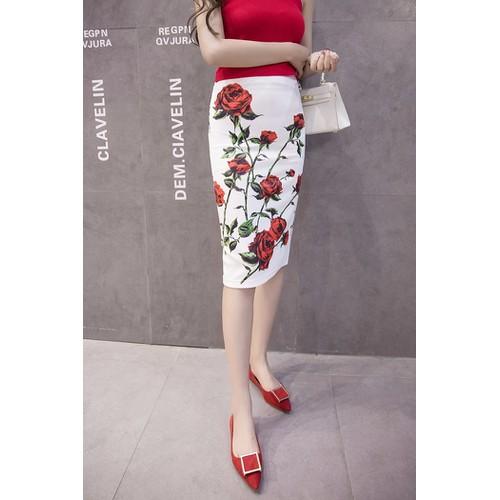 Chân váy nữbút chì hoa cao cấp