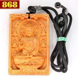 Vòng cổ mặt gỗ hoàng đàn khắc Phật A di đà MG104