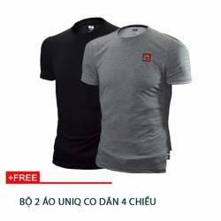 Bộ 2 áo thun UNIQ co dãn 4 chiều 2 mau đen, bạc