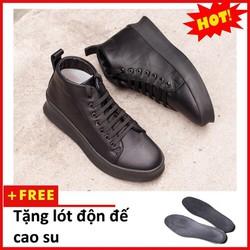 Giày Thể Thao Nam Đẹp Cổ Lửng Màu Đen + Tặng Lót Tăng Chiều Cao