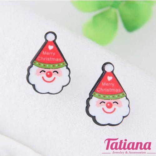 Bông Tai Hàn Quốc  Santa Clause- Tatiana  - BH3057 - Đỏ Trắng