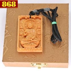 Vòng cổ mặt gỗ hoàng đàn khắc Phật A di đà MG104 kèm hộp gỗ