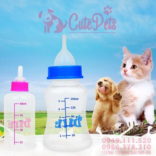 Bình ti bú sữa dành cho chó mèo con 60ml - cutepets