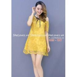 Đầm Suông Ren Trễ Vai Hot Nhất - D2667