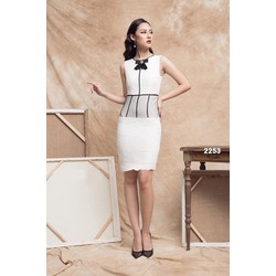 Đầm body ren trắng viền đen phối lưới 2253