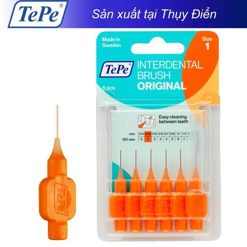 Cây chải kẽ răng cơ bản 0.45mm cam Tepe IDB Orange 6pcs