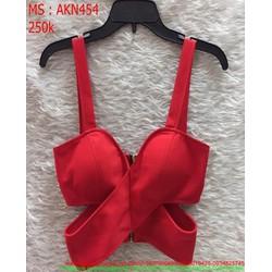 Áo kiểu nữ ngắn 2 dây cúp ngực màu đỏ sành điệu AKN454
