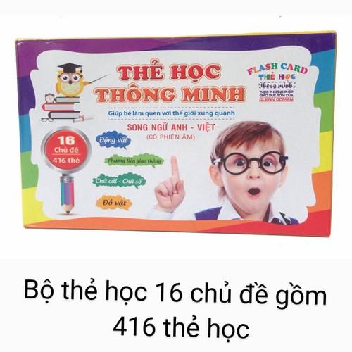 Bộ thẻ học song ngữ Anh-Việt có phiên âm 16 chủ đề