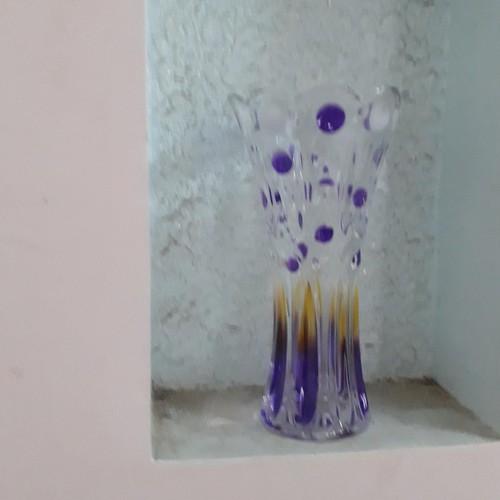 Lọ hoa thủy tinh cao cấp hoa văn nổi trắng