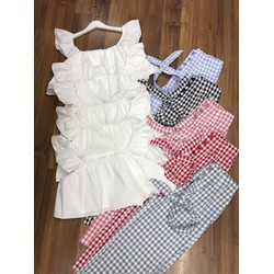 Set áo peplum - quần cullote caro