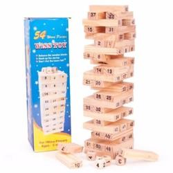 Đồ chơi giải trí tăng trí tuệ, trò chơi rút gỗ 54 thanh, 4 xí ngầu