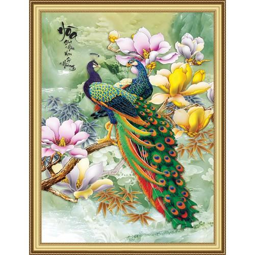 Tranh dán tường VTC đôi chim công Gia hòa LunaTM-0161 KS 69 x 109 cm