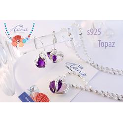 Bộ Trang Sức Bạc Ý s925 đính đá Topaz và kim cương Hàn Quốc