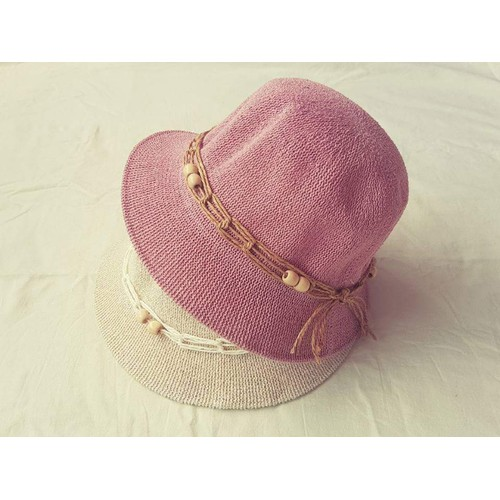 mũ cói nữ thắt dây cách điệu