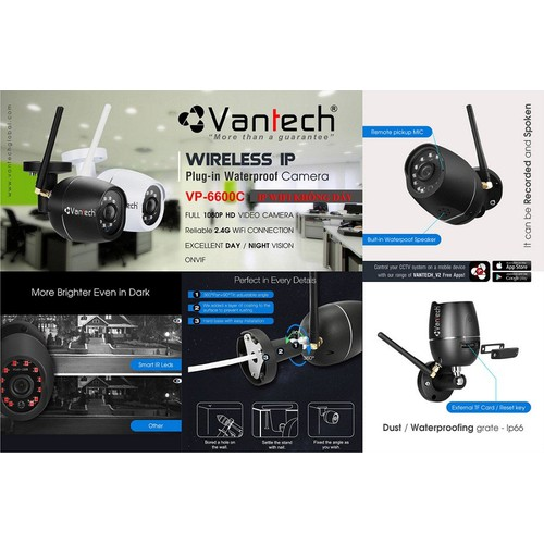 Camera IP WIFI 2.0MP VANTECH VP-6600C
