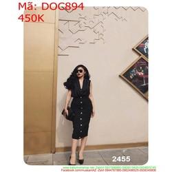 Đầm ôm sát nach xẻ cổ V đính nút sành điệu và thời trang DOC894