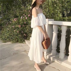 Đầm maxi trắng trễ vai cao cấp