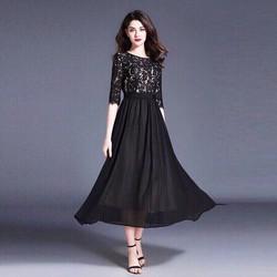 Đầm xòe vintage đen phối ren, đầm váy thời trang