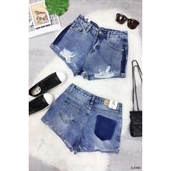 Quần short jeans was rách nhẹ viền màu cá tính