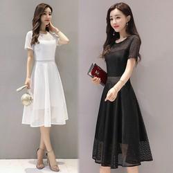 Đầm trắng xòe ren lưới vuông cách điệu cao cấp
