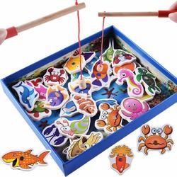 Bộ đồ chơi câu cá gỗ cho bé - Cần câu cá nam châm - fishing game