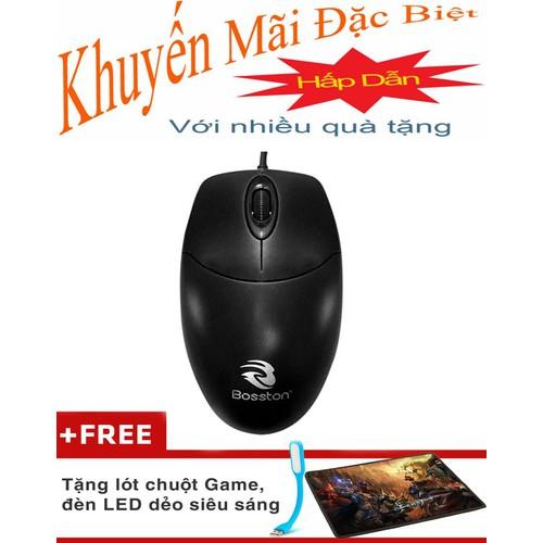 chuột máy tính Mouse Bosston X8 USB Tặng Lót Chuột, Đèn Led