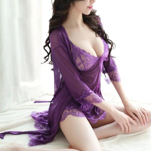 V27- váy ngủ sexy màu Hồng Tím Đen