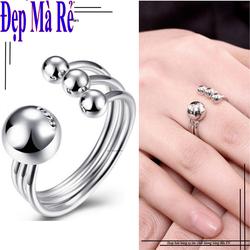 Nhẫn inox nữ Đẹp Mà Rẻ kiểu 4 bi màu bạc