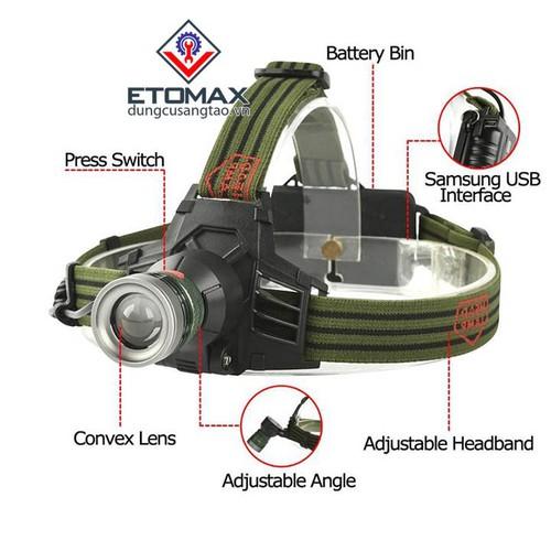 Đèn pin đeo trán USB pin sạc cao cấp