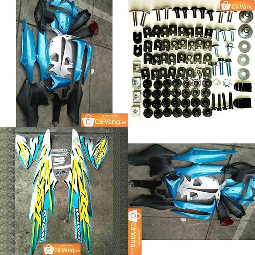 Vỏ nhựa xe máy+Tem+Ốc WaveRSNhựa ZIN trắng cao cấpMÀU XANH NGỌC