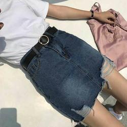 Chân váy jean rách lai mã mới