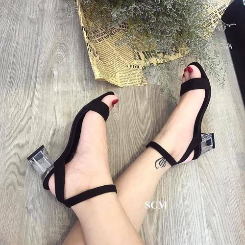 Giày gót vuông trong quai ngang hỡ gót | giày sandal cao gót nữ