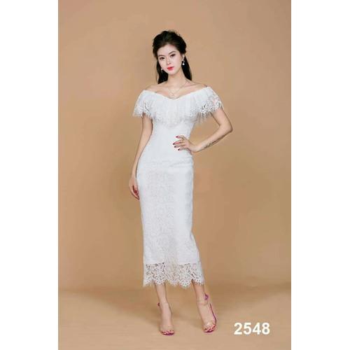 Đầm body ren trắng trễ vai