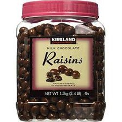 Socola sữa trái cây Kirkland Raisins Chocolate của Mỹ hộp nguyên 1500gr và chia bịch lẻ 200gr