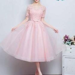Đầm công chúa hồng xòe tay lỡ