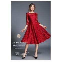ĐẦM XANH REN XOÈ DỰ TIỆC MELODY CAO CẤP-TMDO2516220-M,L,XL