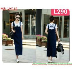 Váy yếm jean nữ phom dài jean cao cấp thời trang xinh đẹp VYJ15