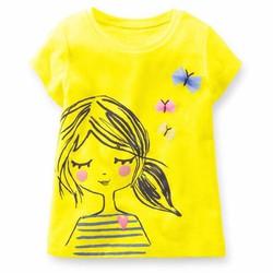Áo thun bé gái - Áo thun bé gái in hình cô gái xinh xắn - Vàng