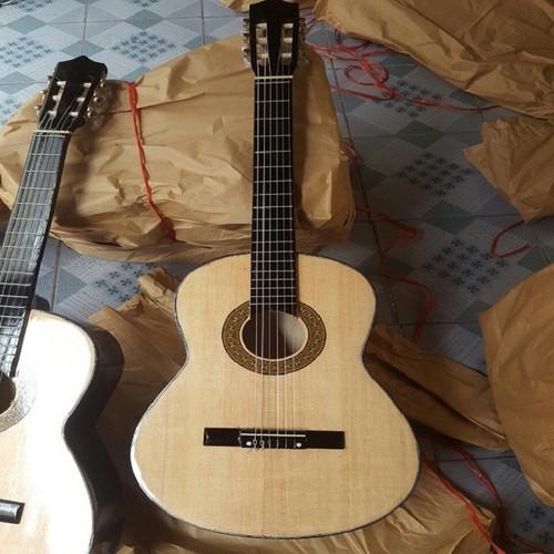 [Kèm hd tập] đàn guitar màu vân gỗ lắp dây kim loại
